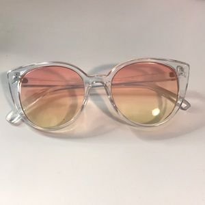 Pink and yellow ombré cat eye sunglasses